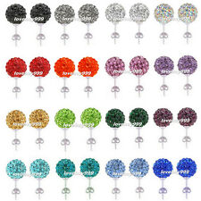 Fashion 10mm Crystal Shamballa Beads Balls Earrings Silver Studs Ear Jewelry