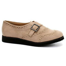 Womens Nude Buckle Suede Effect Boots Ladies Flat Designer Casual Shoes 3-8
