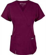 Scrubs Grey's Anatomy Jr. Fit Mock Wrap Top 41101 Wine   FREE SHIPPING!