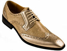 Amali Mens 2-Tone Antique Metallic Gold Oxford Wing-Tip Shoe Perforated 7800-035