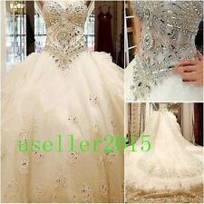Customize Luxury Crystals Train Diamond Wedding Dress 2 4 6 8 10 12 14 16 18 Hot
