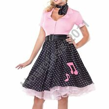 Rock N Roll 1950s Grease Fancy Dress Hop Skirt Top Pink Lady Costume Sexy Outfit