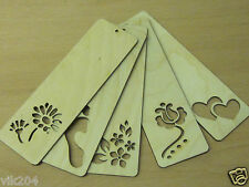 Wooden flower Bookmark Plain Unpainted- Decorate Decoupage Hand Art Craft