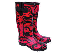 Haida Native American Rainboots Wellies Red and Black Rubber Boots Small Heel