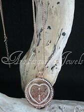 GENUINE MI MILANO NECKLACE/PENDANT SET. CRYSTAL LACE HEART DESIGN COIN/MONEDA