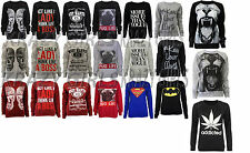 New Womens Graphic Print Sweatshirt Jumper Sweater Top Ladies Size 8-10 12-14 16