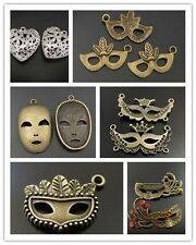 Atq Bronze Vintage Alloy Mask Brooch Brass Silver Heart Jewelry Charm Pendant