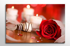 LARGE BOX FRAMED CANVAS WALL ART RED ROSE & WHITE CANDLES PRINT FLOWER A0 A1