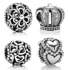 New Openwork 925 Sterling Silver European Hot Beads Charms Heart Crown Flower