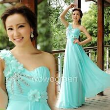 One Shoulder Evening Party Formal Ball Gown Prom Bridesmaid Long Chiffon Dress