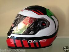 CASCO INTEGRALE  MOTO MOTOCICLISMO KART  LS2 FF322  WHITE RED GREEN TRICOLORE