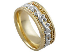 2TONE 18K YELLOW GOLD PLATINUM FLORAL 9mm COMFORT FIT WEDDING BAND