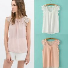2014 Women Summer Lace Floral Hollow Splice Sleeveless Chiffon Tops Blouses New