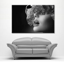 LARGE FRAMED CANVAS WALL ART FANTASY MASK LIPS GIRL PICTURE STUNNING NEW PRINT