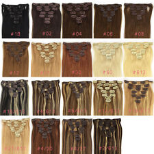 """7PCS Full Head 15""""18""""20""""22""""24""""26""""28"""" Clip In Remy Human Hair Extensions US STOCK"""