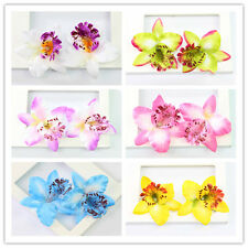 Charming 20 Pcs Orchid Artifical Fabric Flower Heads Wedding Home Tabletop Decor