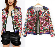 Vintage Collarless Ethnic Royal floral Embroidery Cardigan Jacket Coat Blouse