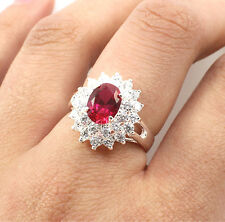 925 Sterling Silver Vintage Cluster Ring with Ruby Cubic Zirconia