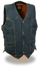 Men's Blue Denim Side Lace Biker Vest w/ Classic Snap Front Design Motorcycle