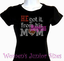 He Got It - FOOTBALL - Rhinestone Iron on T-Shirt - From His Mom Sports Top