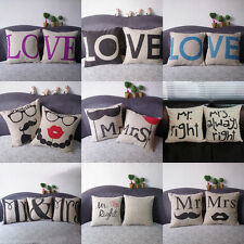 Lovers Valentine linen Throw Pillow Cases Home Decorative Cushion Cover Square