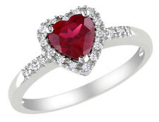 Created Ruby Heart Ring 1.10 ctw with Diamonds in Sterling Silver