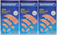 600 (3 x 200) Assorted Washproof or Fabric Plasters - Questaplast - Free P&P!