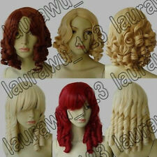 2014 new fashion Heat Resistant Spiral Curly Cosplay Wig  +free weaving cap