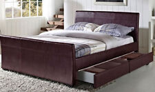 4 DRAWER DOUBLE OR KING SIZE BED LEATHER STORAGE SLEIGH BEDS AND WITH MATTRESS