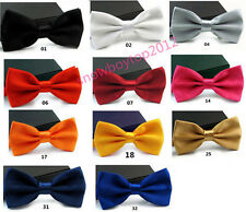 11 Colors Classic Solid Tuxedo Neck Bowtie Wedding Adjustable Men's Bow Tie T001