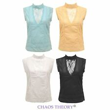 New Ladies Womens Summer Sleeveless Vintage Cotton Embroidered Top Shirt Blouse