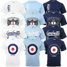 Mens T-Shirt By Lambretta  Short Sleeved Logo Target Mod Crest Print Tee