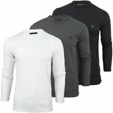 Mens T-Shirt By French Connection/ FCUK Long Sleeved Crew Neck Chest Logo