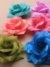 rose hair clip layered fabric on a clip/Wedding/ 6 Colours