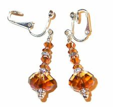 COPPER Crystal Earrings Sterling Silver Dangle 5040 Rondelle Swarovski Elements