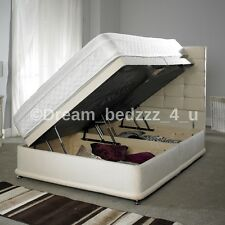 CREAM STORAGE OTTOMAN DIVAN CHENILLE BED STRONG, DOUBLE, KING SIZE            #