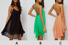 Womens' Sexy Backless Chiffon Cocktail Party Mini Dress Skirts Sling Strap Prom