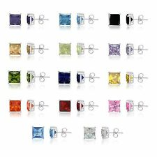 Basket Set Square 10X10mm Princess Cut Sterling Silver CZ Stud Earrings