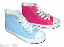 Girls Canvas Lace Up Hi Tops Boots Pumps Trainers Pink Light Blue Sizes 12-2.5