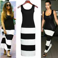 WOMENS CELEB KIM KHLOE KARDASHIAN STRIPE COLOUR BLOCK MAXI BODYCON DRESS SEXY