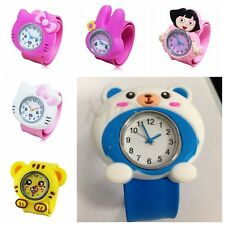 Lovely Children 3D Cartoon Bendable Plastic Strap Slap Wrist Watch Wristband