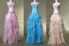 New Stone Ruffle Skirt Prom Ball Cocktial Dress Pageant Party Evening Gown Stock