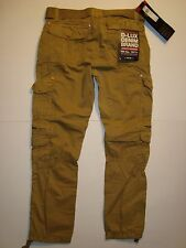 MEN JORDAN CRAIG (D-LUX) UTILITY CARGO PANTS WITH BELT SLIM FIT COLOR WHEAT