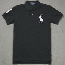 New Polo Shirt Ralph Lauren Custom Fit Big Pony Men's Gray / White