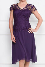 New Mother of Bride Cap Sleeve V-Neck Crochet Top Chiffon Formal Dress Purple