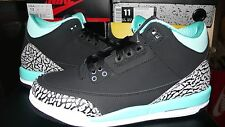 AIR JORDAN 3 RETRO Girls 'BLEACHED TURQUOISE' Mint Black Sz 5C-7Y 441140-045 Tif
