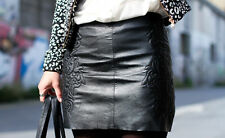 Zara Sold out in stores real 100% leather embroidered mini black skirt short