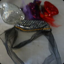 genie hat sequin harem veil costume party accessory black silver purple red
