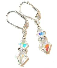 CLEAR AB Iridescent CRYSTAL EARRINGS Sterling Silver SWAROVSKI Elements Dangle
