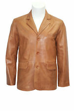 CLASSIC BLAZER Men's TAN 865 Tailored Soft Real Nappa Leather Jacket Coat